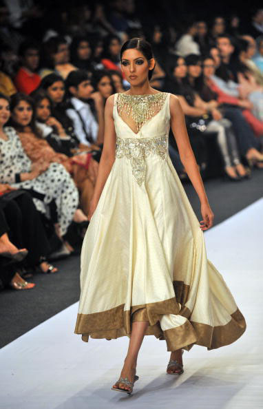 A model presents a creation by Pakistani